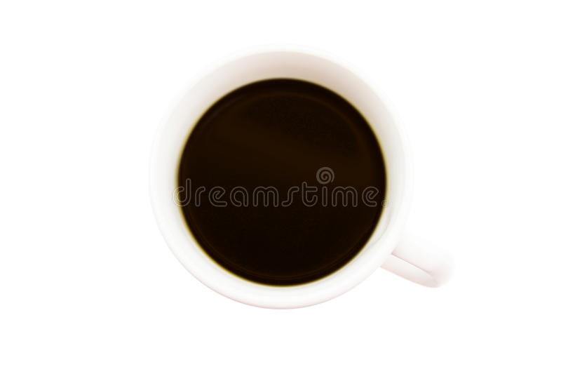 White cup of black coffee. White coffee cup with black coffee isolated on the white background - top view stock images