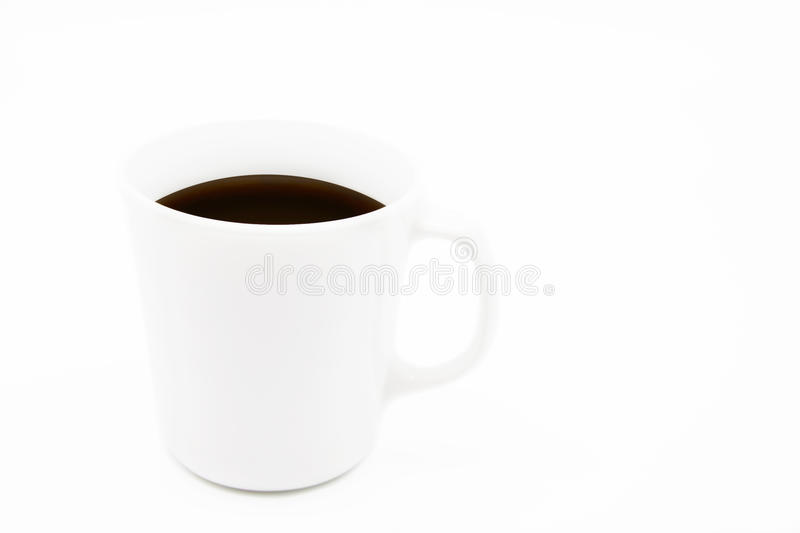 White cup of black coffee royalty free stock photography