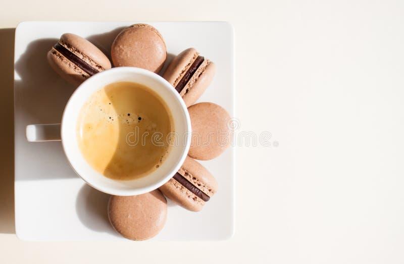 Coffee and macarons. royalty free stock image