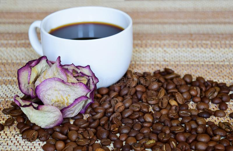 A white Cup of black strong coffee and a dried rose. royalty free stock photography