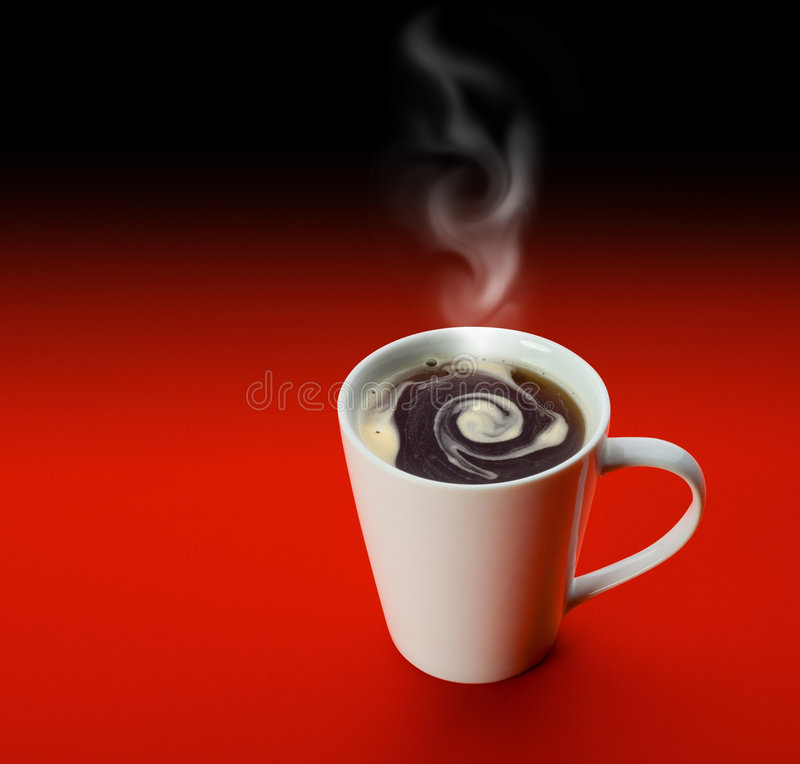 White cup of coffee. Over red background with clipping path