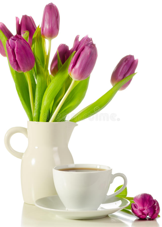 Download White Cup Of Coffee With Bunch Of Purple Tulips  On Whit Stock Photo - Image: 28843420