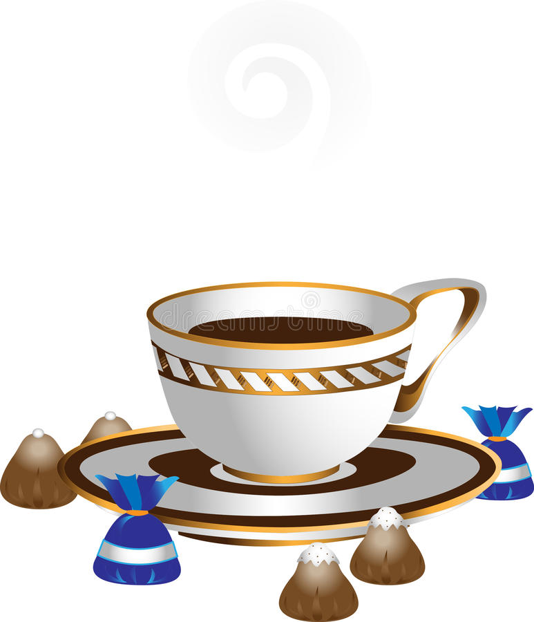 Download White Cup With Coffee And Chocolates.Illustrations Stock Vector - Image: 22403600