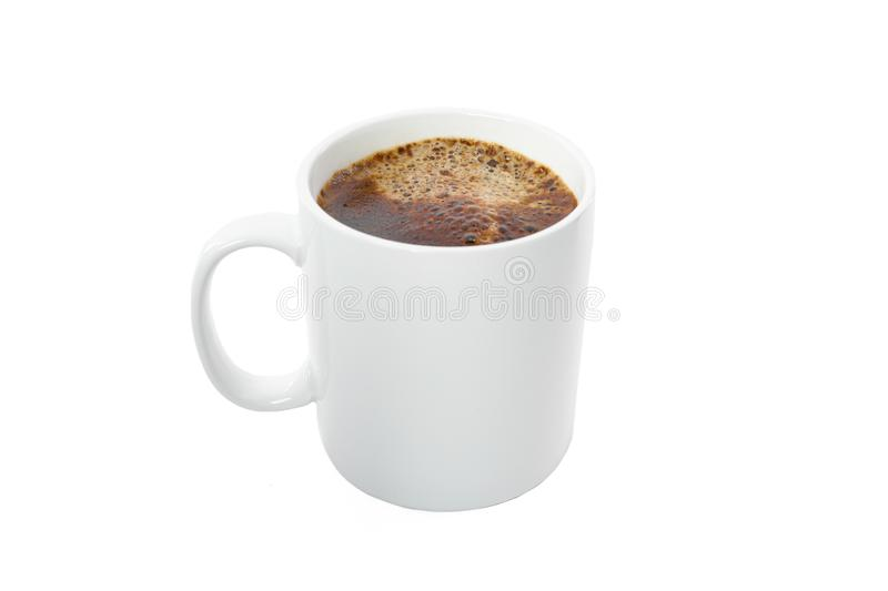 White cup of coffee isolated on white background. Coffee time accessories stock photo