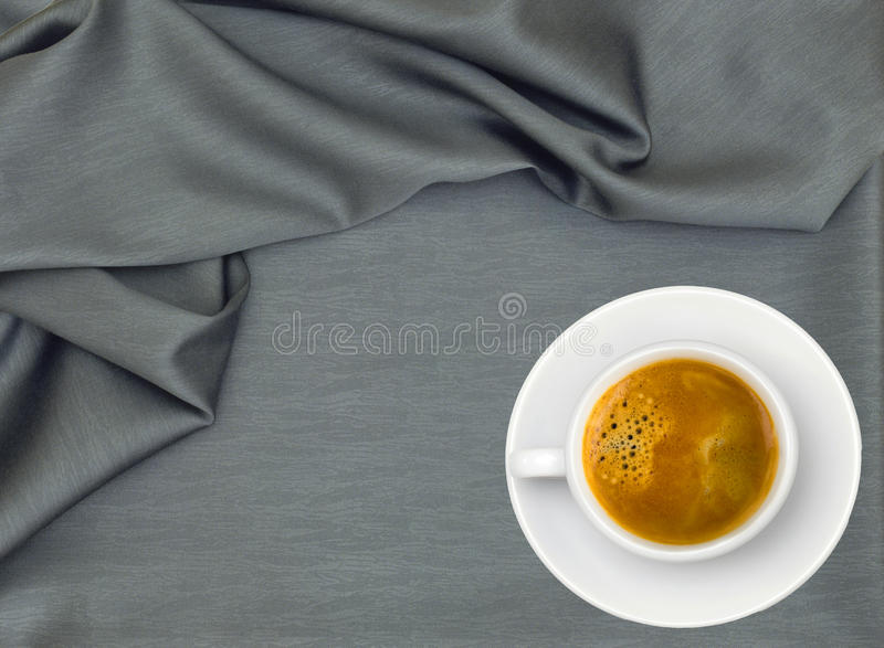 Download White Cup Of Coffee Over Grey Cloth Stock Image - Image: 25400729
