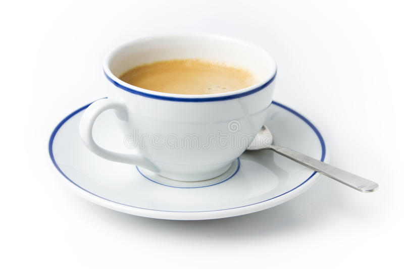 Download White Cup Of Coffee On Plate With Spoon Stock Photo - Image of cafeine  sc 1 st  Dreamstime.com & White Cup Of Coffee On Plate With Spoon Stock Photo - Image of ...