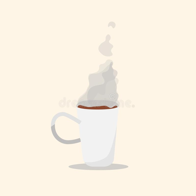 White Cup of coffee with soft smoke art flat design. Style vector vector illustration