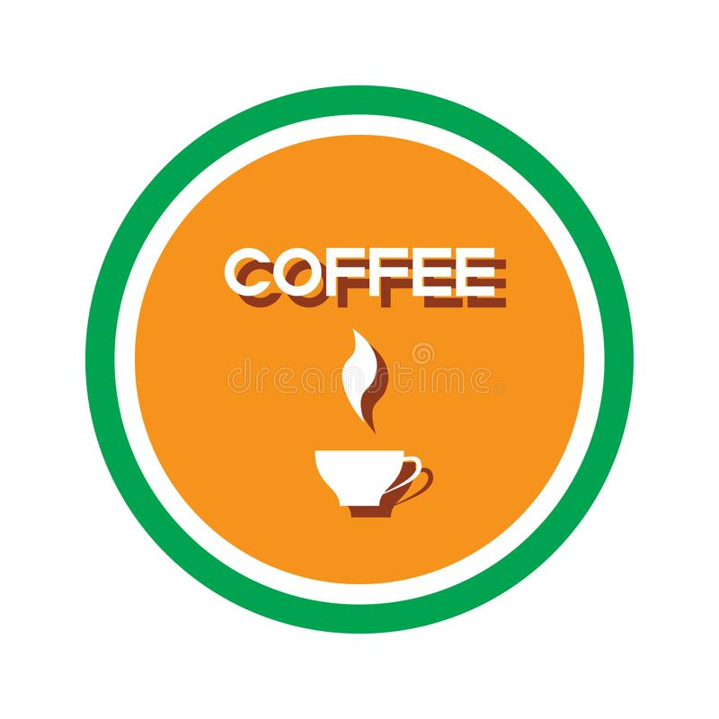 White cup Coffee-14. A symbolic image of a round shape with a cup of coffee. The image can be used for advertising, computer games, advertising booklets stock illustration