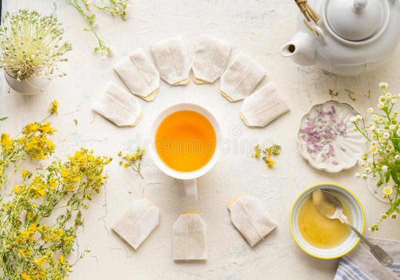 White cup with frame of tea bags with mock up of herbal tea on white table background, top view. Herbal tea setting with teapot ,. Honey and fresh medical herbs stock images