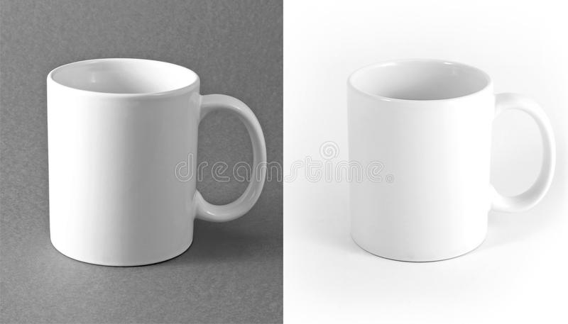 White cup on gray and white background. stock photo