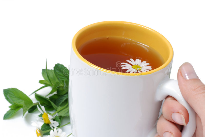 White Cup With Herbal Tea Stock Photos