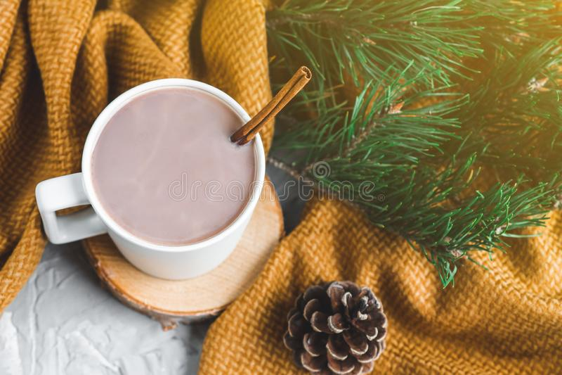 White Cup of Hot Chocolate, Yellow Plaid, Cone, Pine Branch, Fir Tree, Gray Background, Autumn Concept, Winter, Cosiness, Instagr. Am Style royalty free stock photo