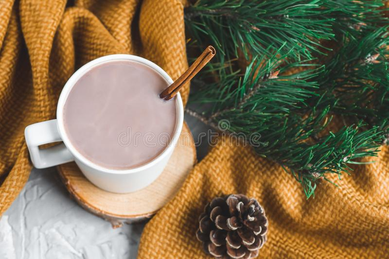 White Cup of Hot Chocolate, Yellow Plaid, Cone, Pine Branch, Fir Tree, Gray Background, Autumn Concept, Winter, Cosiness, Instagr. Am Style stock image