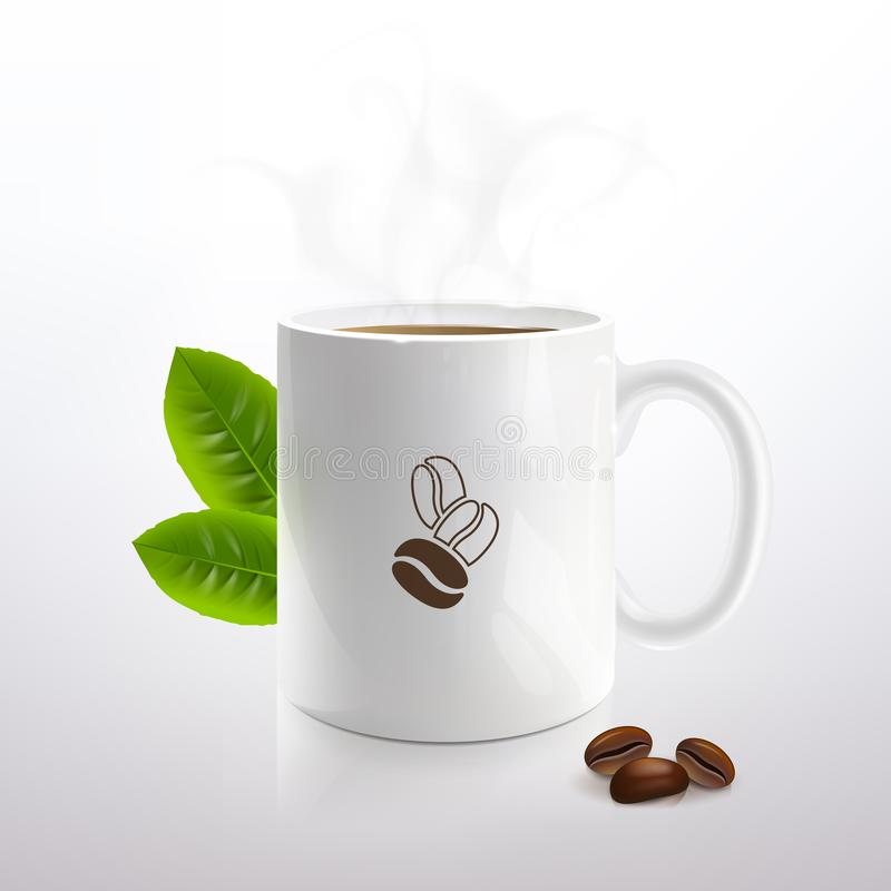 White Cup with Hot Coffee stock illustration