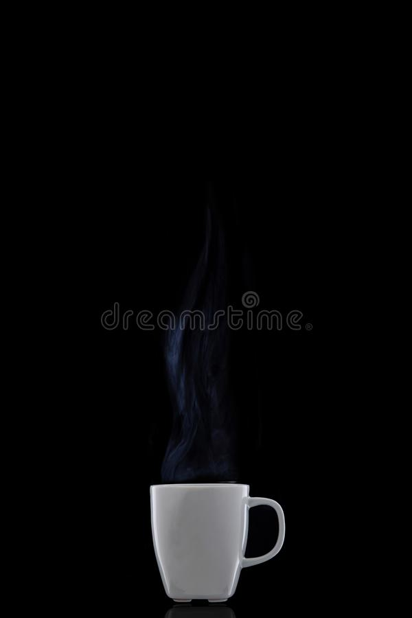 White cup with hot coffee. Steam Rising. royalty free stock photography