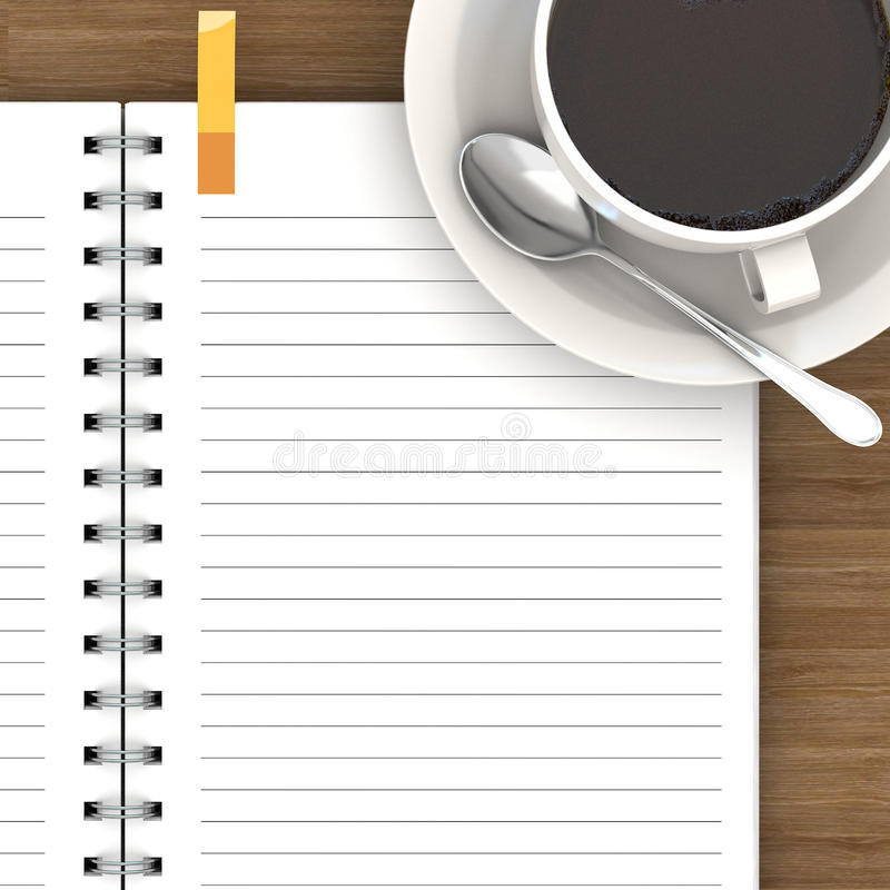 White cup of hot coffee and white sketch book. On wood table royalty free illustration