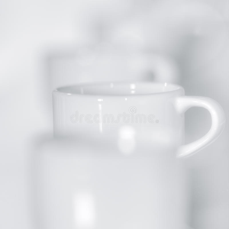 White Cup In Row Royalty Free Stock Photos