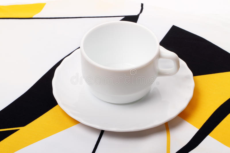 Download White Cup On The Tablecloth Stock Photo - Image: 18397372
