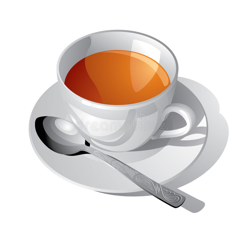 Download White cup of tea stock vector. Image of teacup, morning - 5136858