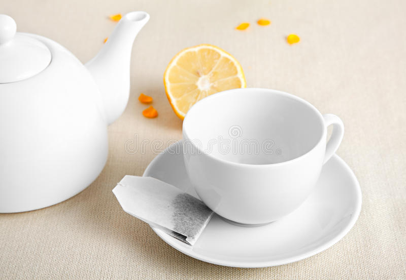 Download White Cup With Tea Ba Stock Photography - Image: 19509132