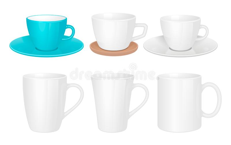 White cups. Mug collection isolated stock photos