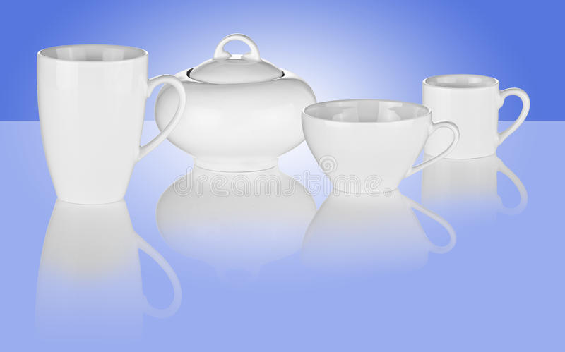 White Cups And Sugar Bowl On Blue Background Stock Image
