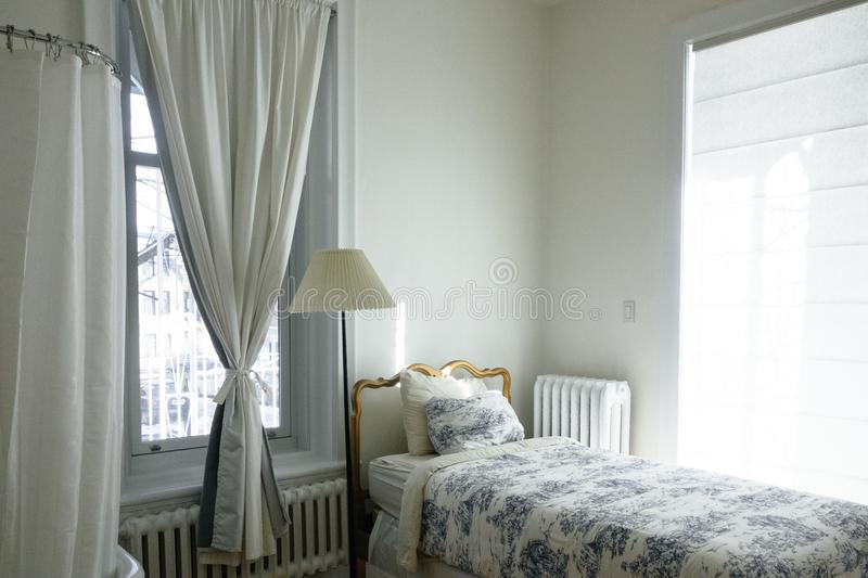 White Curtain Near Bed And Floor Lamp Free Public Domain Cc0 Image