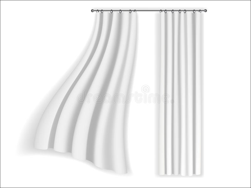 White curtains fluttering royalty free illustration