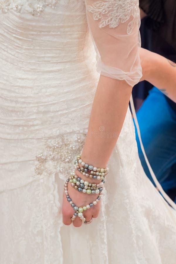 White Custom Wedding Dress royalty free stock photo