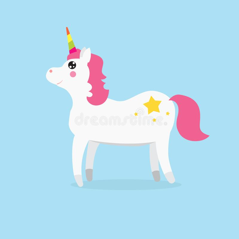 White Cute magic unicorns character. Vector illustration stock stock illustration