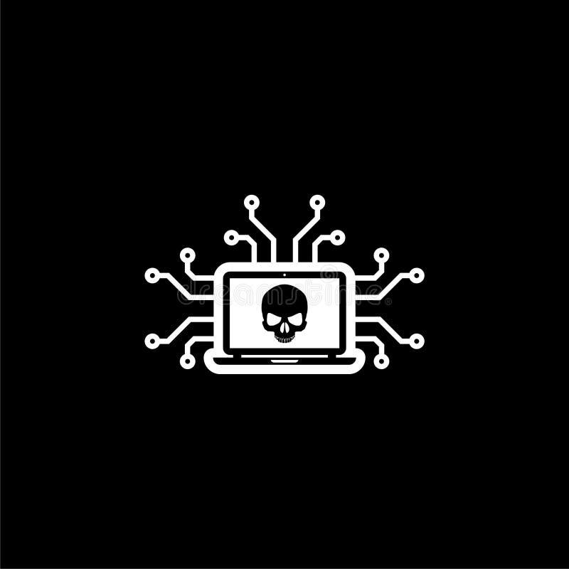 Cyber Attack Logo Hacker Icon Cyber Crime Or Threats On Dark Background Stock Illustration Illustration Of Digital Malicious 132951960
