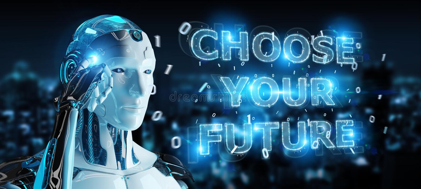 White cyborg using future decision text interface 3D rendering. White cyborg on blurred background using future decision text interface 3D rendering vector illustration