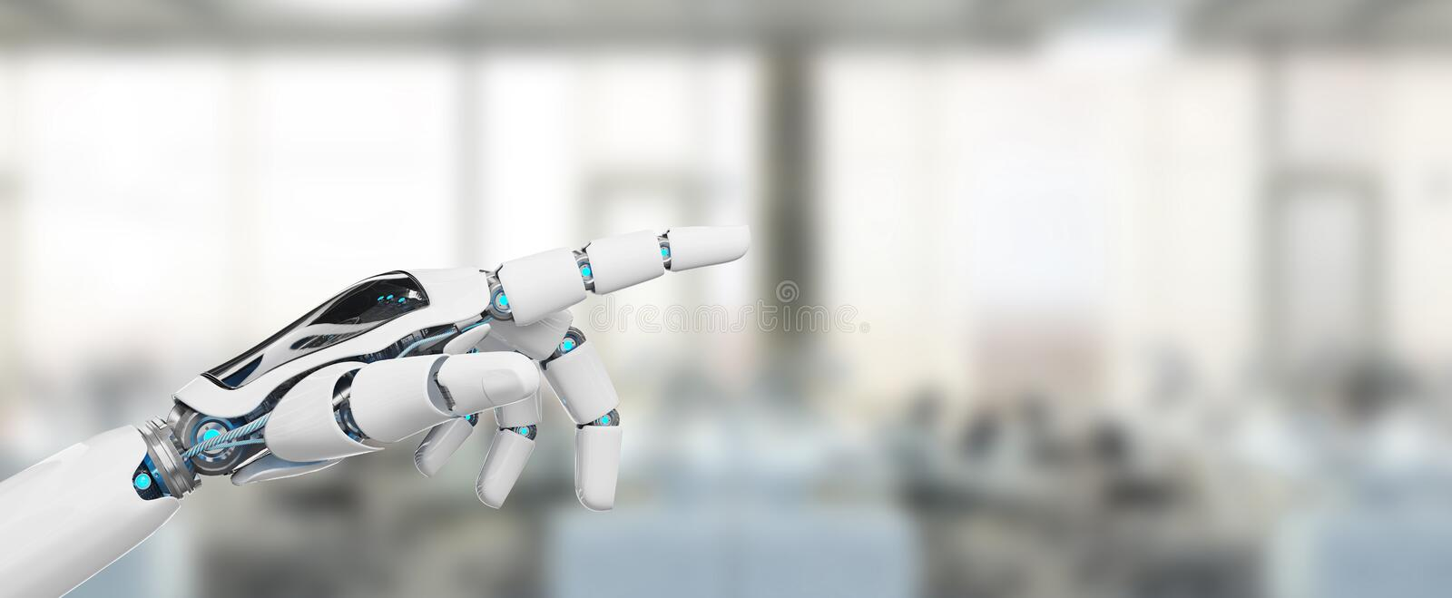White cyborg pointing his finger 3D rendering royalty free illustration
