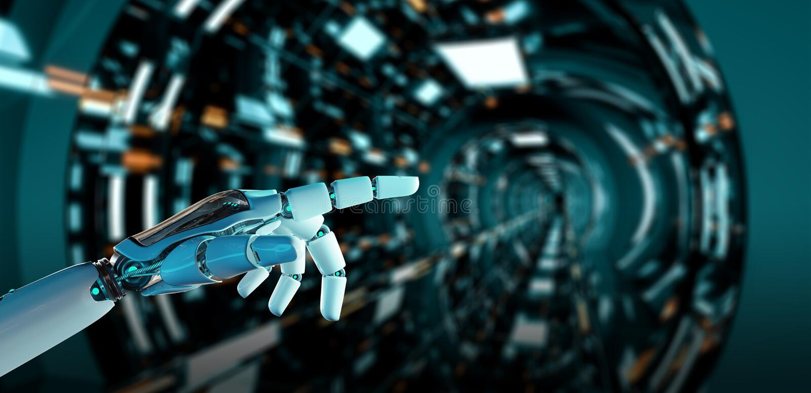 White cyborg pointing his finger 3D rendering stock illustration