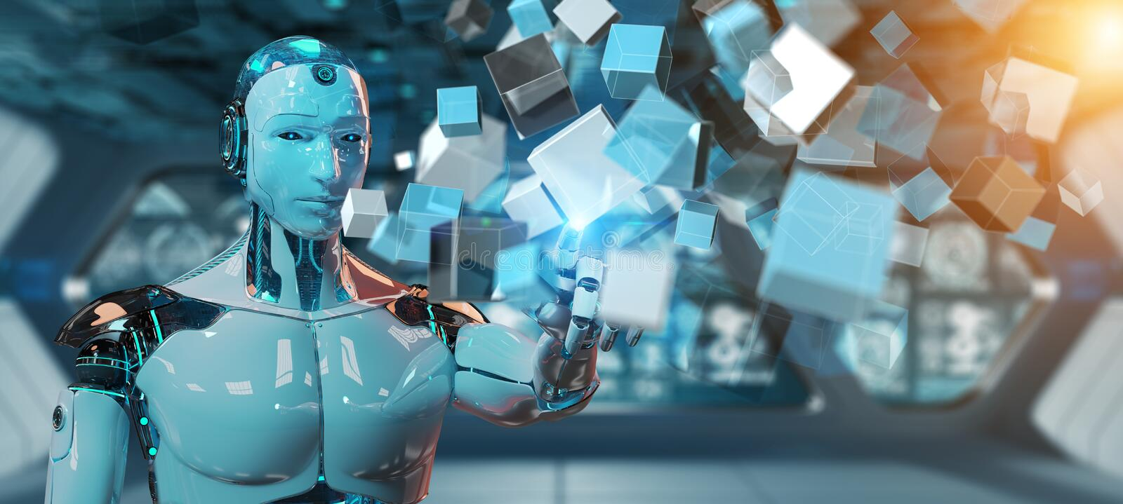 White cyborg using blue digital cube structure 3D rendering vector illustration