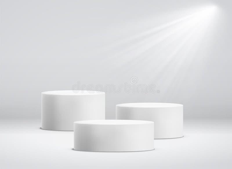 White cylinder template. 3d base stand podium or studio pedestal round platform showroom vector illustration stock illustration
