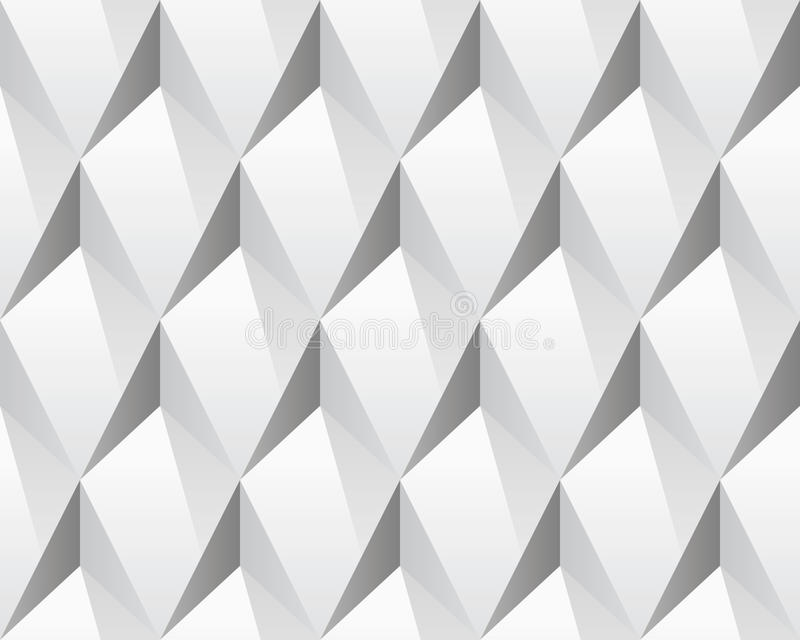 White 3d abstract seamless texture (vector). Modern concept pattern (rhombus). Bright background (illustration stock illustration