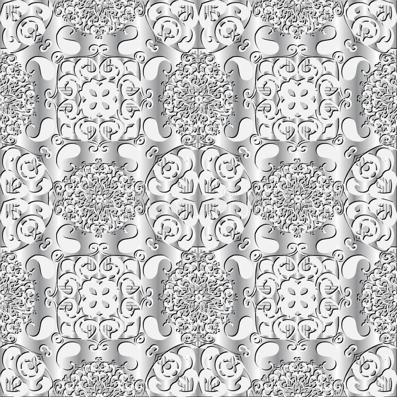 White 3d arabesque Paisley vector semless pattern. Light ornamental textured background. Surface lacy Damask ornament. With paisley flowers, leaves, shapes stock illustration