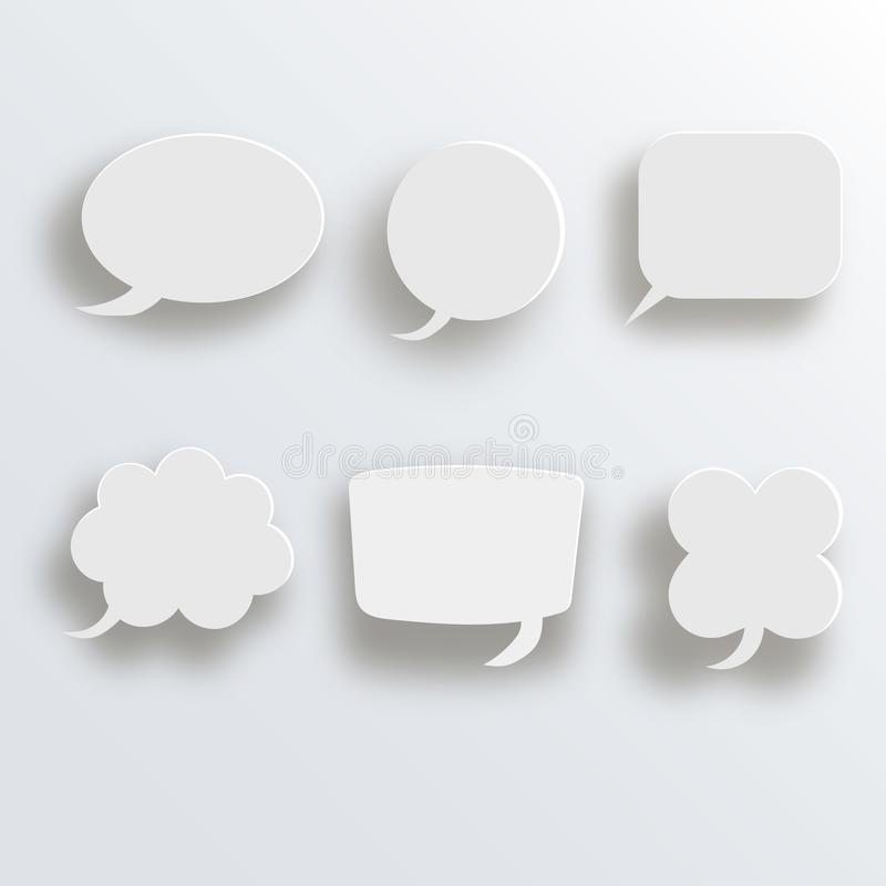 White 3d blank square and rounded button vector set. Button banner round, badge interface for application illustration. White 3d blank square and rounded button royalty free illustration