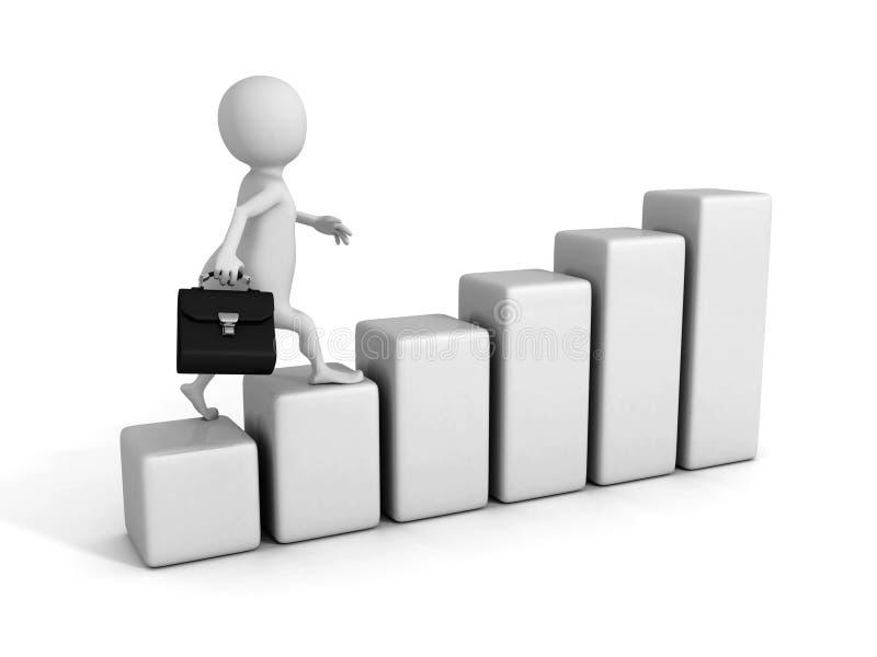 White 3D business man climbing success graph. 3d render illustration vector illustration