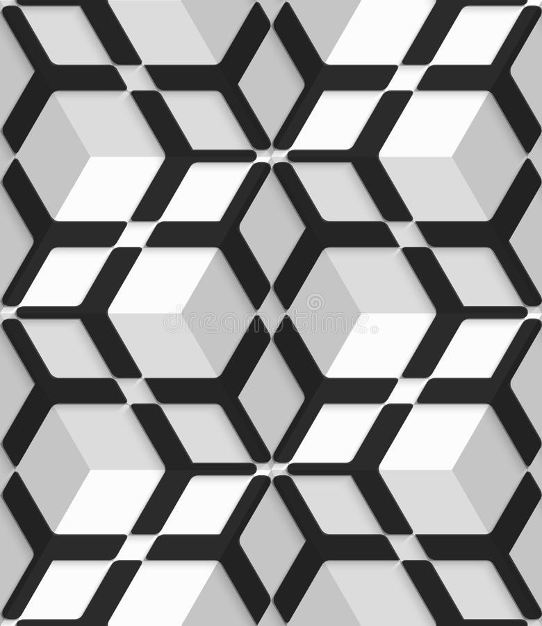 White 3d cubes with hexagonal net on seamless pattern stock illustration