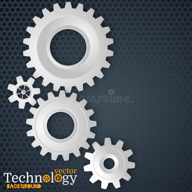 White 3d gears on the gray hexagon background royalty free illustration