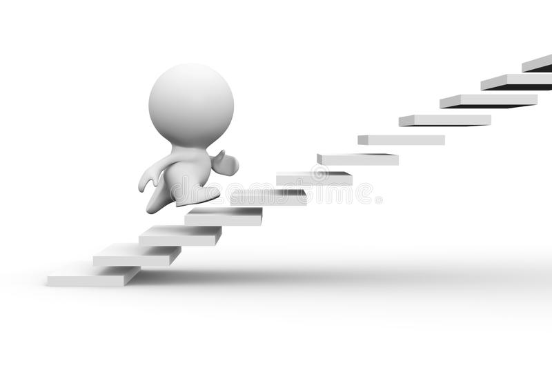 White 3d human character running up on stairs royalty free illustration