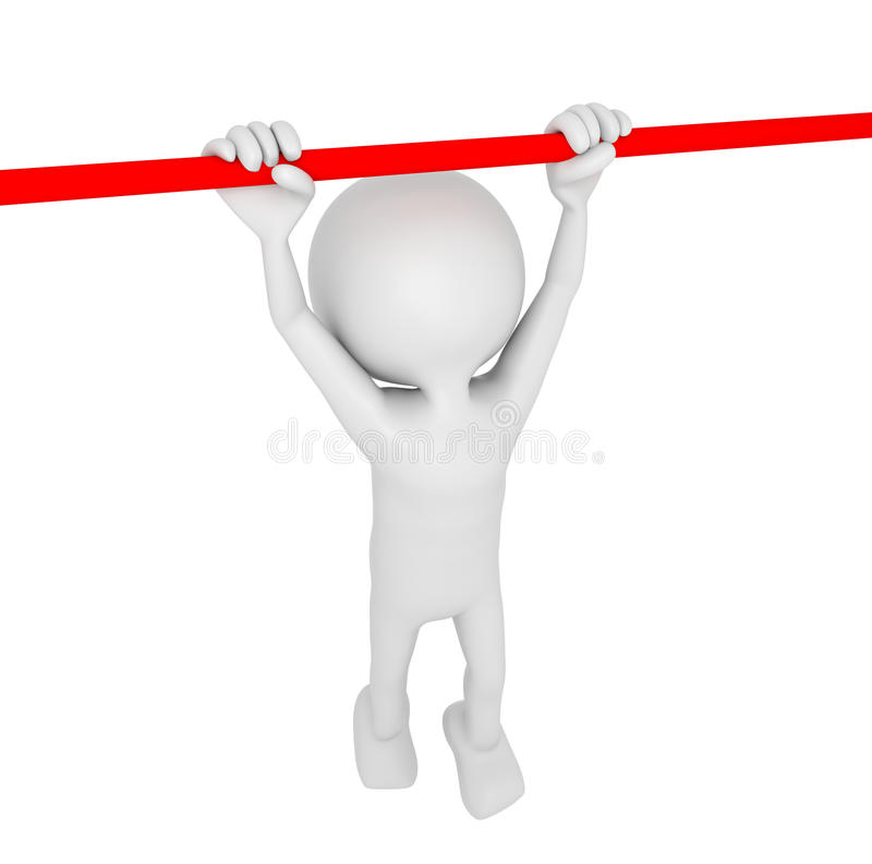 White 3D Human hanging on a bar vector illustration