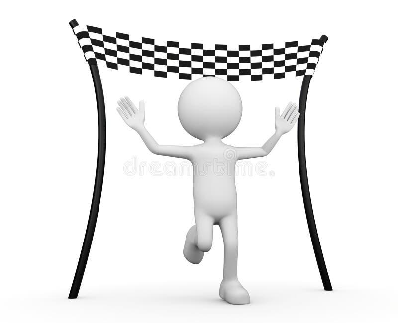 White 3d human - reaching the finishing line royalty free illustration
