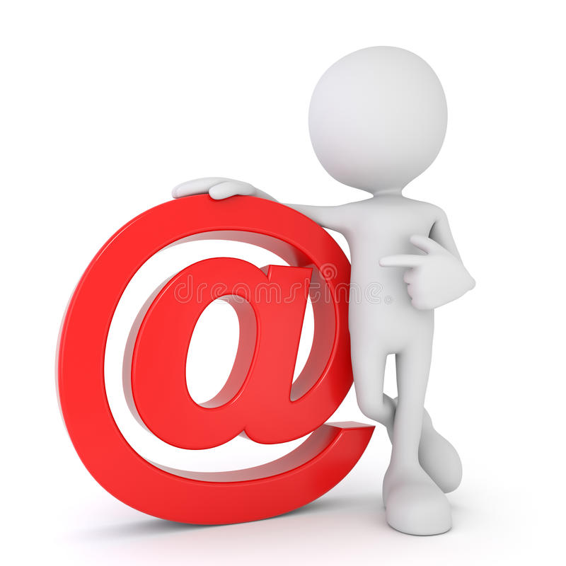 White 3d human - red email symbol vector illustration