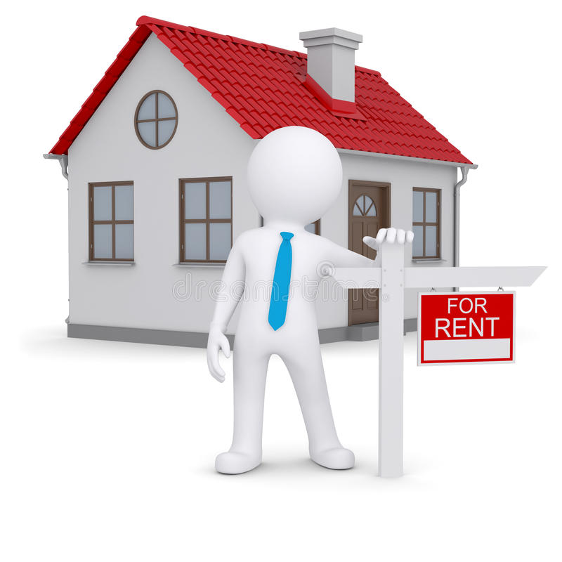 White 3d human and small house with sign a lease royalty free illustration