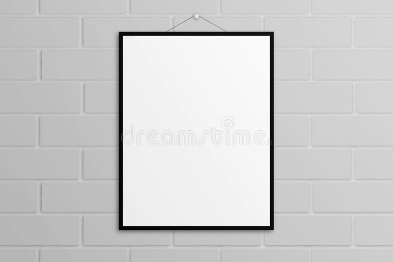 White 3D Illustration Poster Mock-up With Black Frame Brick Wall ...