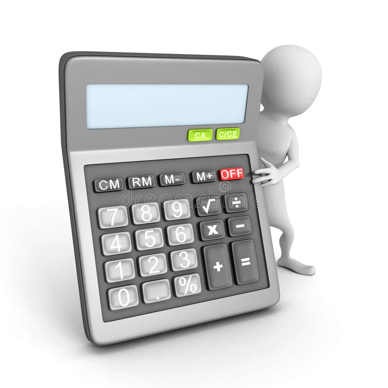 White 3d Man Character With Office Calculator Stock