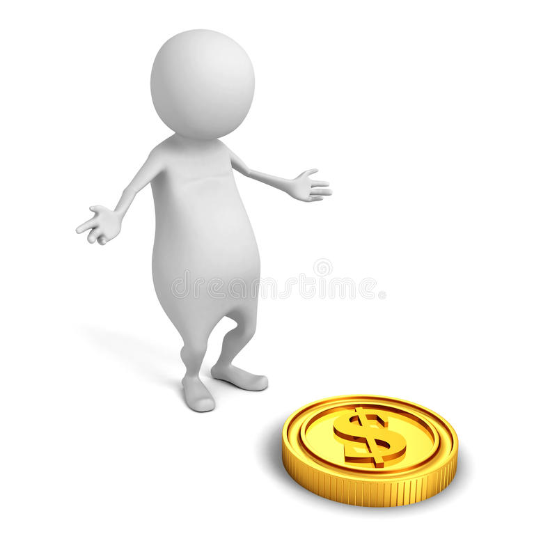 White 3d man find golden dollar coin. financial success concept vector illustration